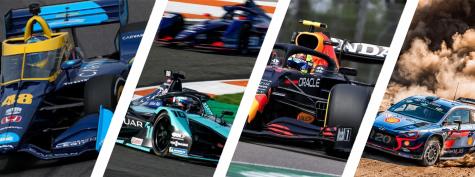 Left to Right: IndyCar, Formula E, Formula 1, World Rally Championship